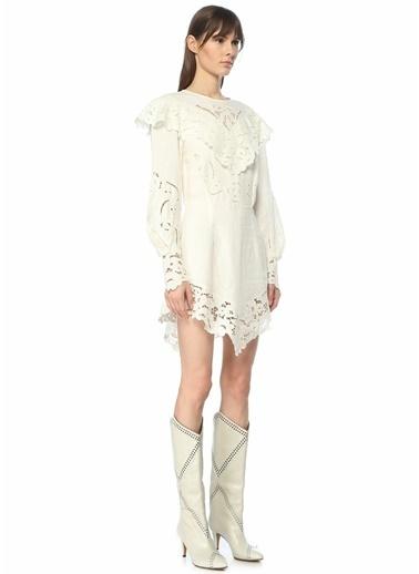 Etoile Isabel Marant Isabel Marant  Yaka Detaylı Dantelli Mini Elbise 101550608 Ekru